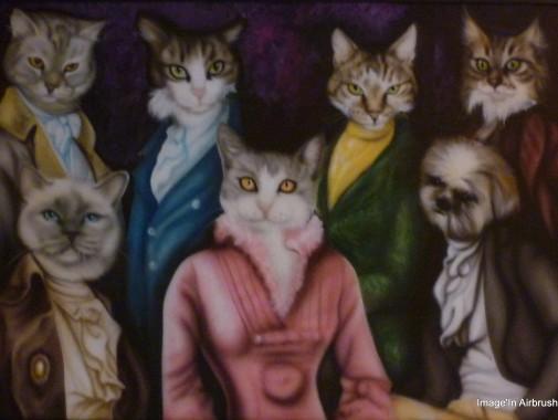 Portrait de chats et chien en costumes.